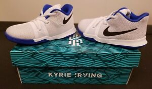 buy popular 9a852 abe60 Details about Nike KYRIE 3 TD Toddler Boys Size 8C White Black Hyper Cobalt  Fashion Shoes