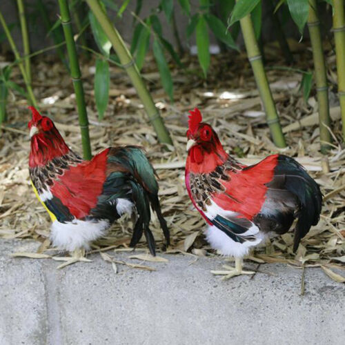 Realistic Rooster Chicken Figure Farm Animals Feather Prop for Home Garden A