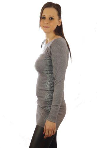 Pullover da Donna Pullover lavorato a maglia finemente lavorata a maglia sexi pizzo strass taglia unica