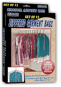 13 Clear Zippered Hanging Garment Bags Travel Storage