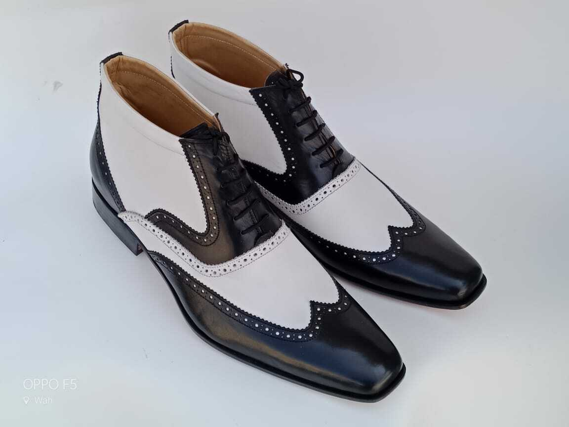 Men Classic Two tone wing tip brogue Ankle boots, Men lace up leather boots