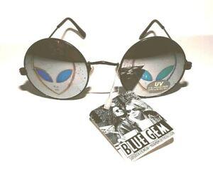 BLUE-GEM-Alien-Hologram-Sunglasses-Round-Blk-Wire-Rims-Retro-Style-UV400-New