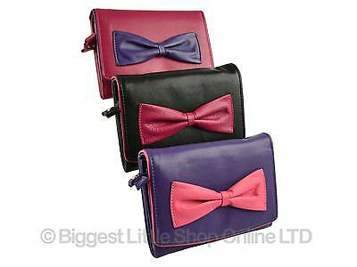 Ladies Medium Flap Over LEATHER PURSE WALLET Mala; Peony Bow Collection Gift Bag