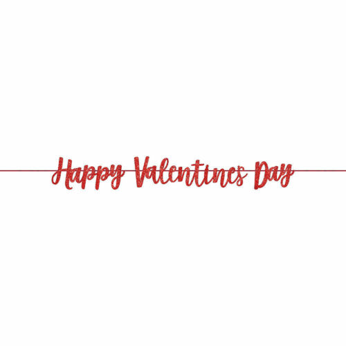 Happy Valentines Day Party Red Glitter Ribbon Banner Decoration 3.65m