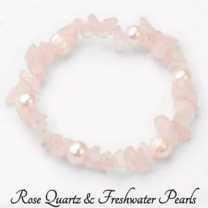 Rose Quartz Pearl Bracelet Crystal Gemstone Love Reiki Healing Chakra Gift Pink