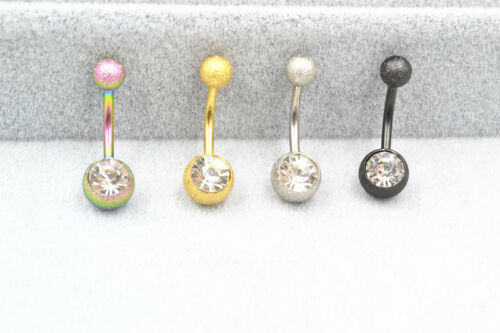 LOT50pcs Glitter Gems Navel Belly Ring Belly Button Barbell 316L Surgical Steel