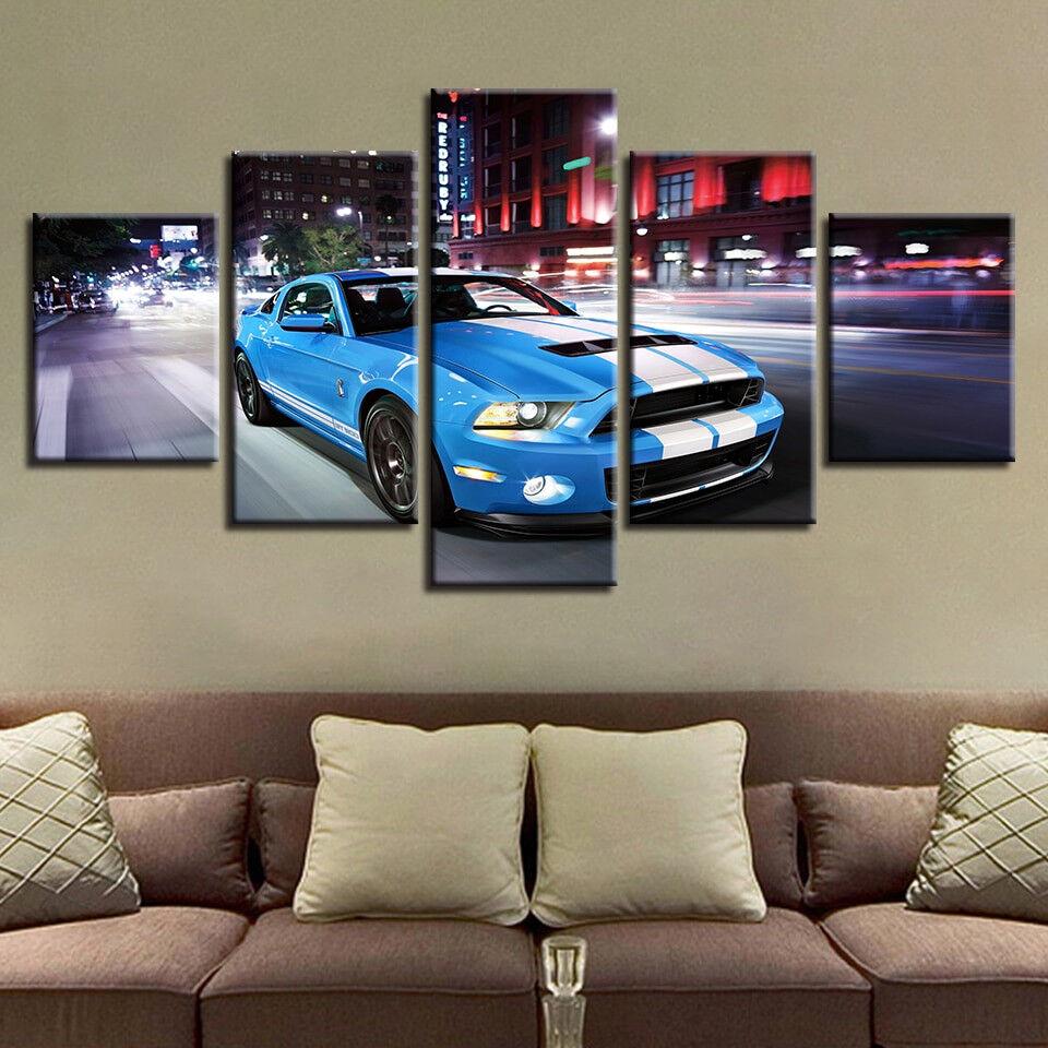 Ford Mustang Sports Car 5 Panel Canvas Print Wall Art