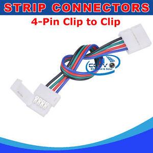 4 pin solder less clip to clip connector for 5050 3528 rgb led light la imagen se est cargando 4 pin soldadura menos clip clip conector para aloadofball Images