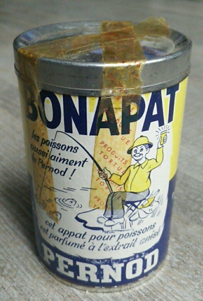 TORTUE- boîte ancienne PERNOD  BONAPAT- appât pour poisson vintage fishing reel.