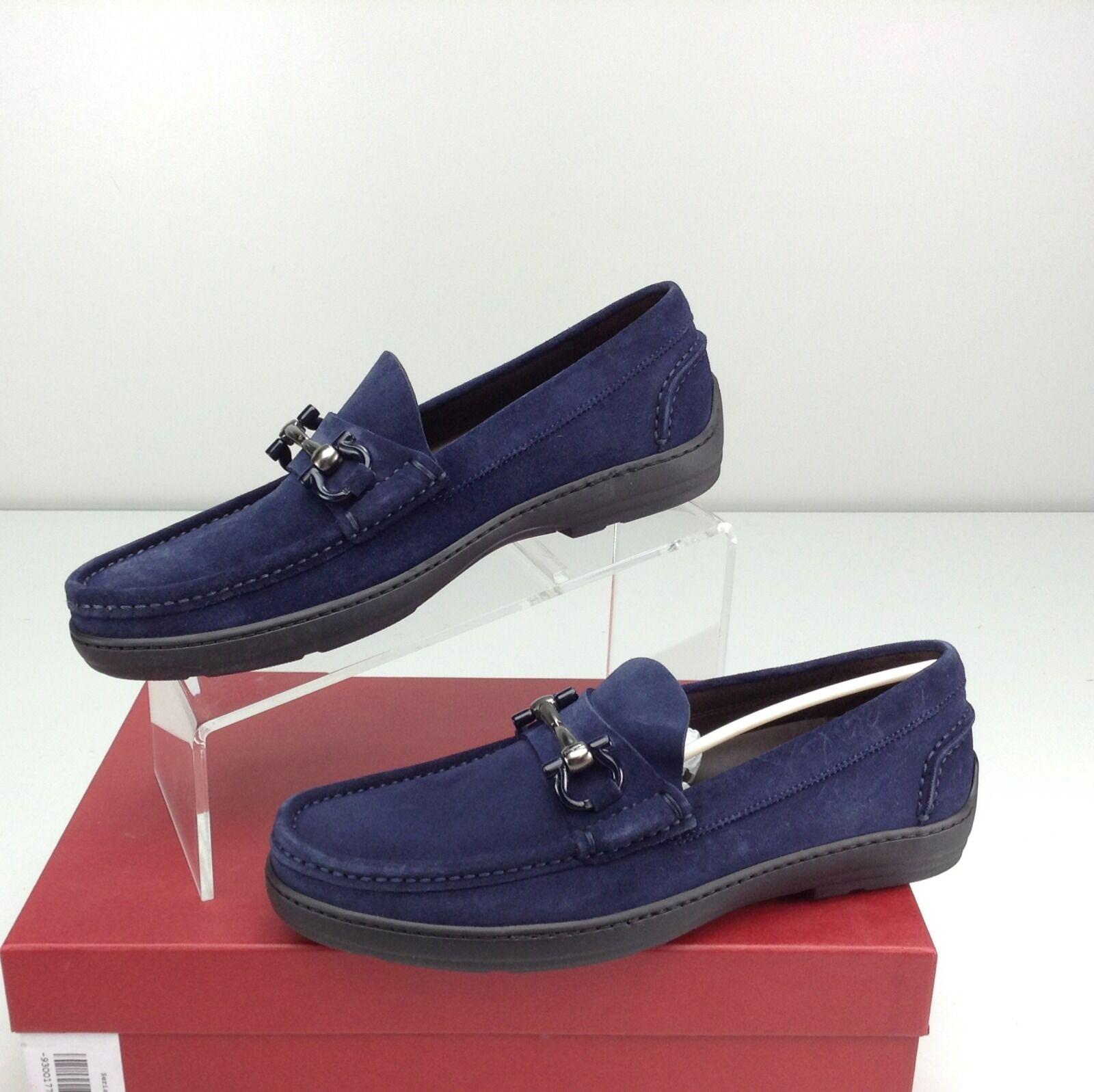 Salvatore Ferragamo Memphis Men's Bit Blue Suede Loafer Slip On Size 7 D