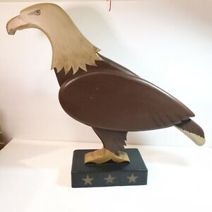 Wooden-Primative-Americana-Carved-Eagle-23-Long-17-tall-Signed