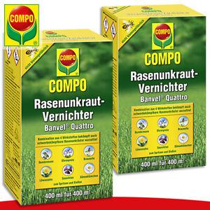COMPO 2 x 400 ml Rasenunkraut-Vernichter Banvel® Quattro Gundermann Löwenzahn