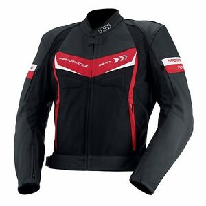 IXS Rockford Leather Sport Mens Motorcycle Jacket - Black Red White