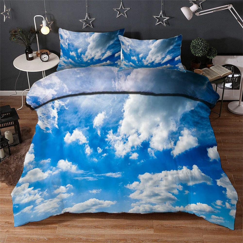 Blau Sky,Cloud 3D Quilt Duvet Doona Cover Set Single Double Queen King Print