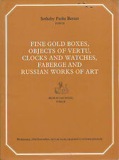 SOTHEBY'S ZURICH SNUFF GOLD BOXES VERTU FABERGE RUSSIAN WATCHES CLOCK Catalog 77