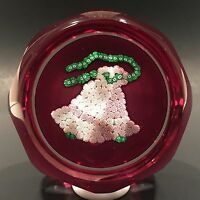 Vintage Perthshire Art Glass Paperweight Millefiori Christmas Bells C. 1977