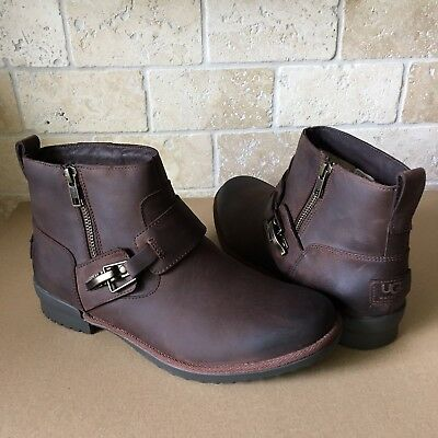 daff28963bd UGG CHEYNE BROWN LEATHER WATERPROOF DUCK ANKLE BOOTS SIZE US 8 WOMENS | eBay