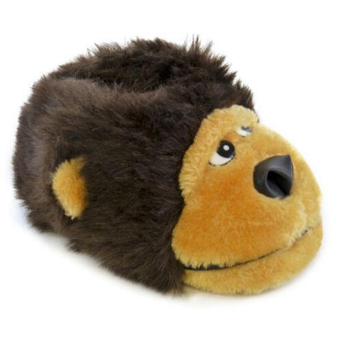 Boys Cosy /& Warm Padded Faux Fur Novelty 3D Gorilla Slippers In 4 UK Kids Sizes