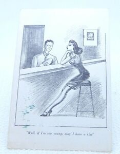 VTG Pre WW2 Military & Pinup Girl Risque Artist Drawing Postcard Unused Rare!
