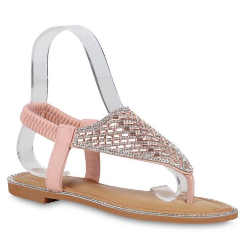 Damen Sandalen Zehentrenner Strass Sommer Schuhe Zehenspreizer 822779 Trendy Neu