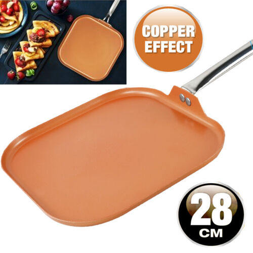 28CM-GRILL-FRYING-PAN-COPPER-BBQ-NON-STICK-ALUMINIUM-INDUCTION-KITCHEN-CERAMIC