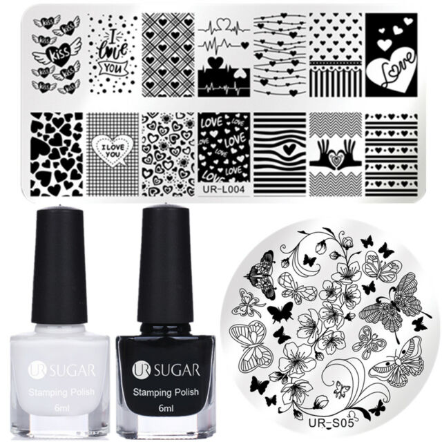 Nail Art Stamping Polish Black White Stamp Plates Heart Butterfly ...