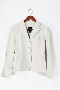 Weekend Max Mara Womens Size 4 Small Ivory Blazer Stretch Cotton 3 Button Jacket