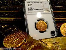"SPAIN 1 ESCUDO 1516 - 1556 ""SEVILLE"" GOLD COB DOUBLOON NGC 61 MS COIN!"
