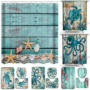 4PCS-Ocean-Animals-Shower-Curtain-Non-Slip-Bath-Rug-Mat-Toilet-Bathroom-Decor