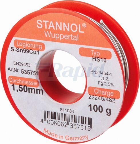 Stannol 535751 filo di saldatura HS10 Sn99Cu1 1.5mm 100g