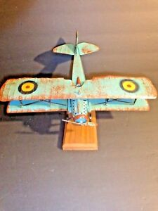 Details About One Vintage Metal Bi Plane Mounted Military Aircraft Decor Model Airplane