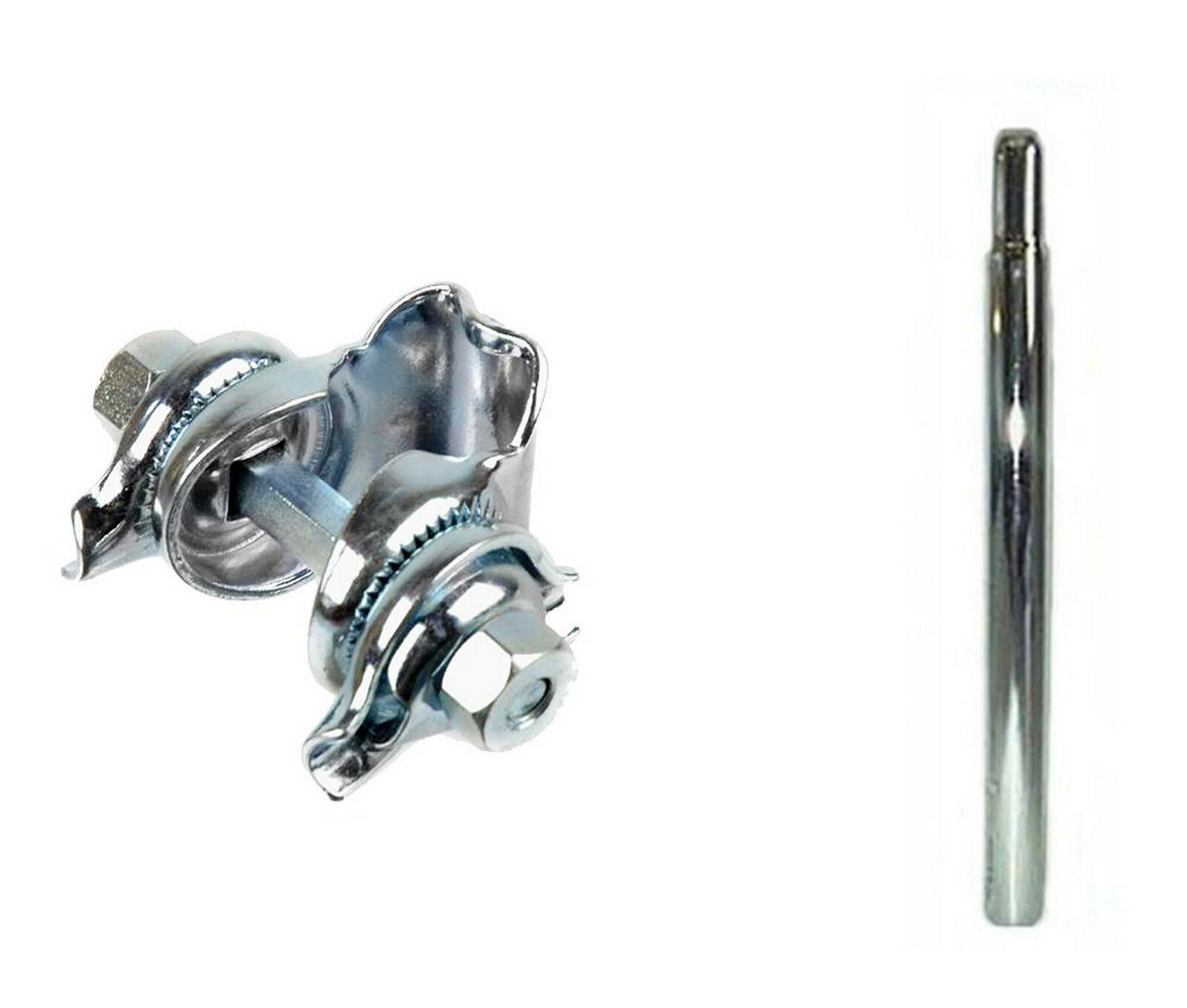 Tija Clasica para Bicicleta en Acero Cromado en Plata 25.4 mm + Nuez 3222 3814