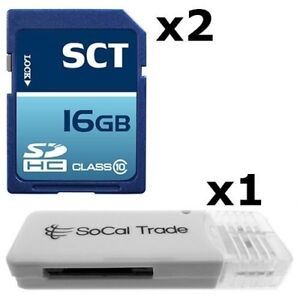 2 PACK - Lot of 2 SCT 16GB SD HC Class 10 SDHC Secure Digital Flash Memory Card