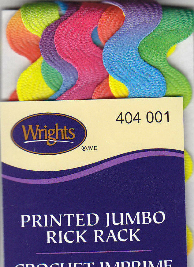 Rainbow Wrights 117-404-001 Polyester Printed Rick Rack Trim 2.5-Yard Jumbo