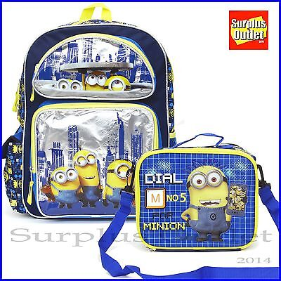 """Minions Backpack 16/"""" Large School Backpack Book Bag With Lunch Bag 2pcs Set"""