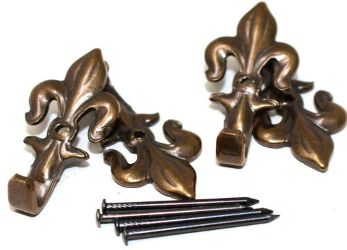 FLEUR DE LYS BRONZE 50mm PICTURE FRAME HOOKS WITH HARDENED PINS HANGING HANG