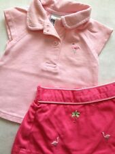 Oshkosh Baby Girl Pink Flamingo Outfit 0–3 MO - Summer/ Beach~ Polo Top & Skirt