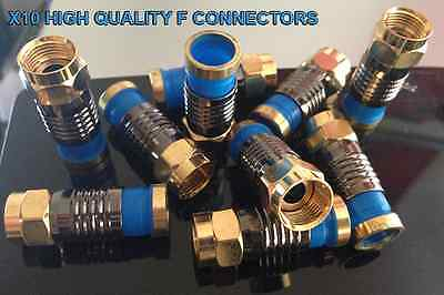 10 X F CONNECTOR PLUG COMPRESSION FIT SNAP SEAL SATELLITE SKY VIRGIN FREESAT