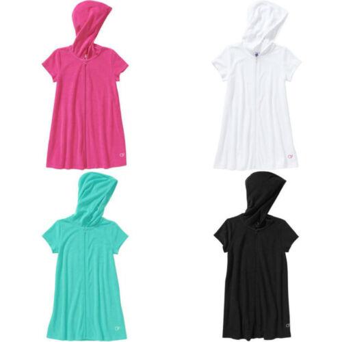 Girls Girl 4-16 Pink White Blue Black Hooded Terry Swim Beach Cover Up Toddler
