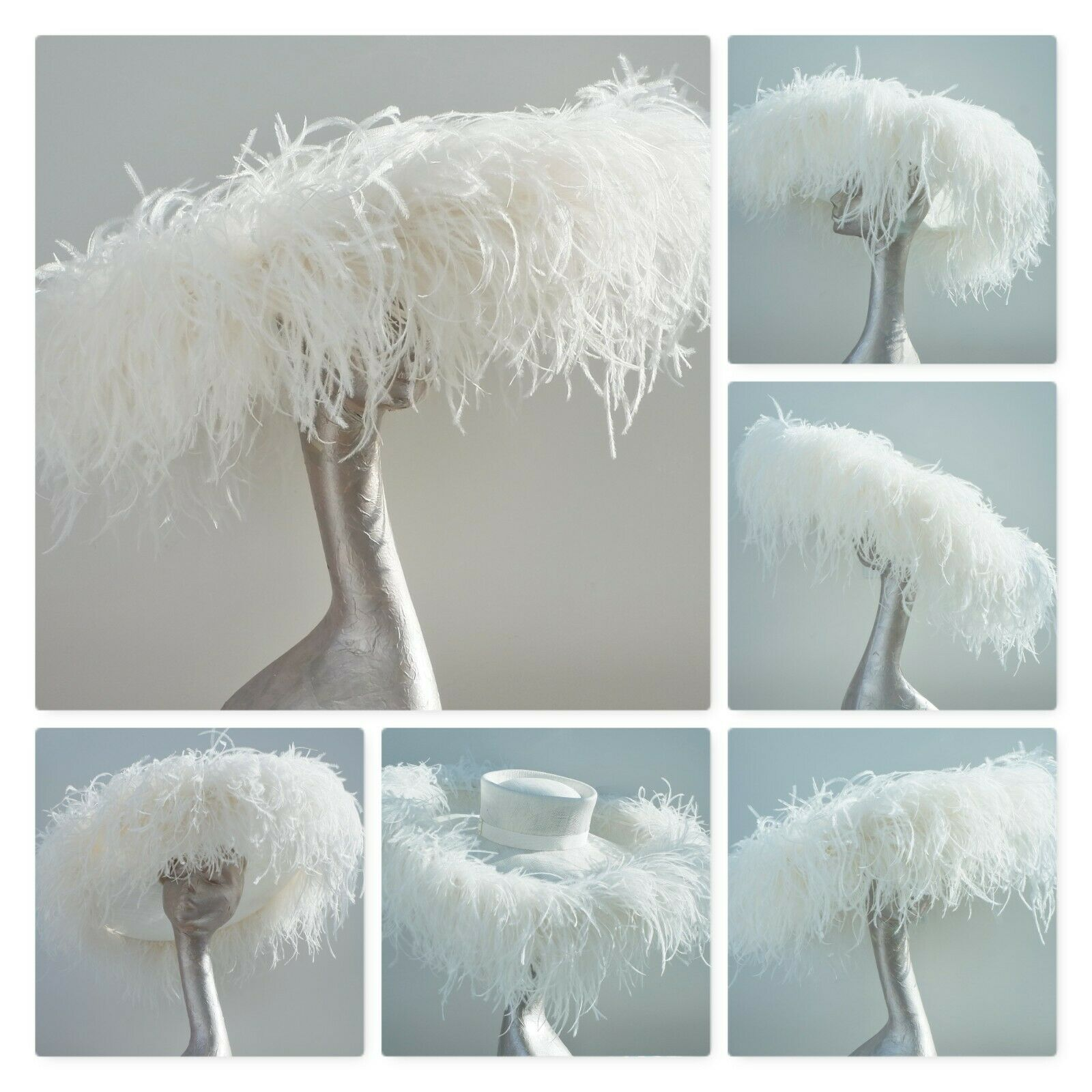 IVORY EXTRA LARGE FEATURE HAT OSTRICH FEATHER BOA ASCOT-MADE TO ORDER 21 DAYS