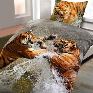 Das Bild Wird Geladen Baumwoll Satin Bettwaesche Wende 135x200 2  Teilig Tiger