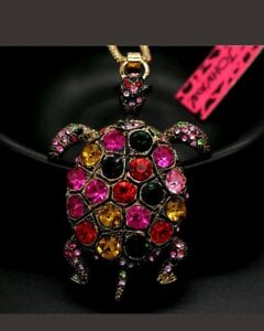 Betsey-Johnson-colorful-Turtle-Tortoise-pendant-sweater-statement-necklace