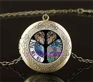 Vintage-Owl-Tree-of-life-Photo-Cabochon-Glass-Brass-Locket-Pendant-Necklace