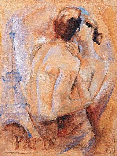 Talantbek chekirov  KISS IN PARIS terminé-image 60x80 La Fresque Fille Paire