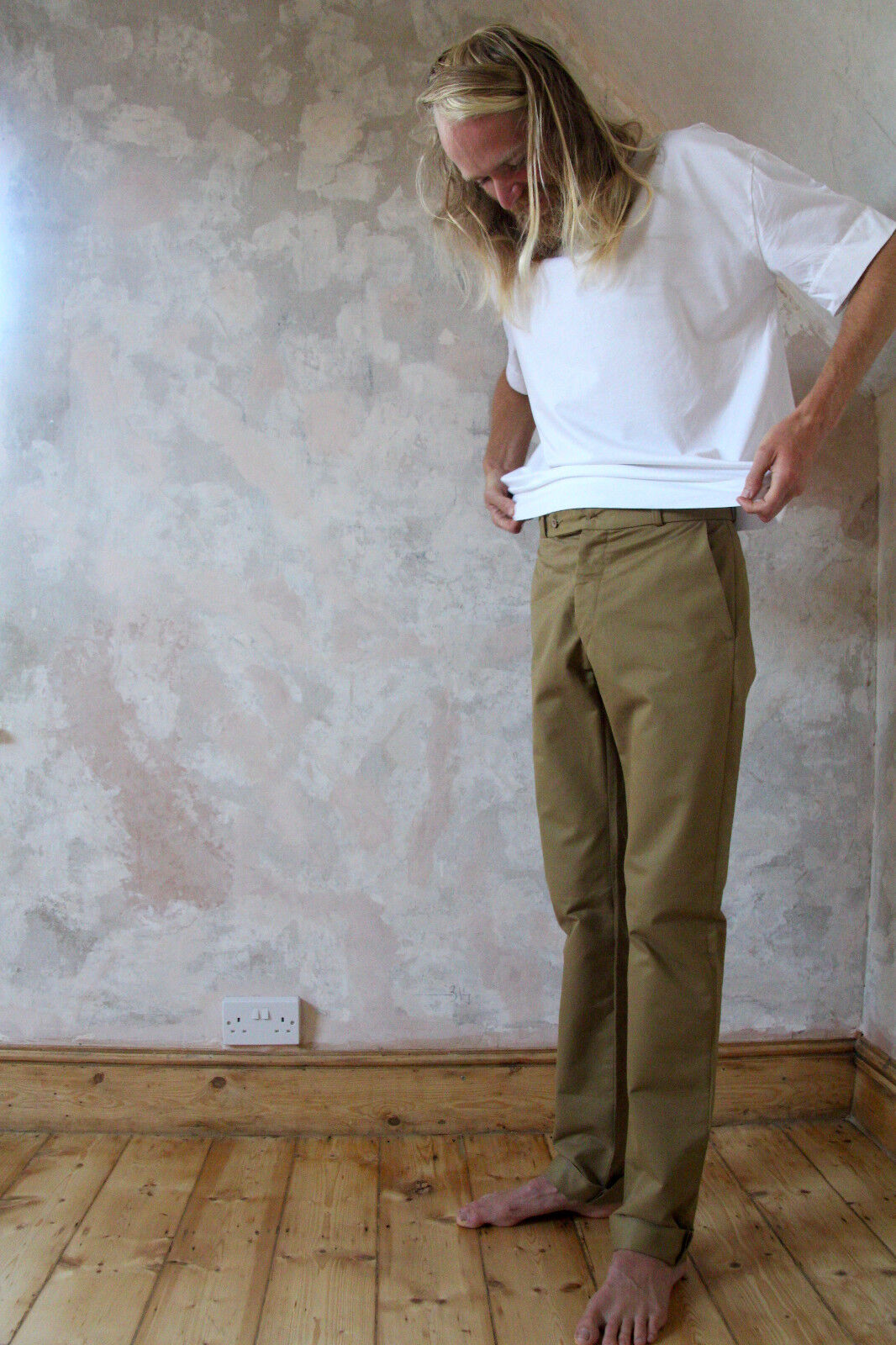 TailGoldt Trousers in Khaki Cotton Drill - Made in South Wales UK.    Tails