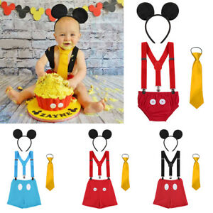 Mickey Mouse Baby Boy Birthday Cake Smash 4pcs Outfits Photography Prop Costume