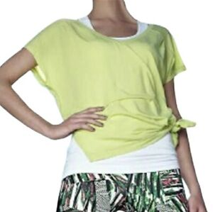 Zella The Peace Side Tie Tee Sz S Short Sleeve Lightweight V-Neck Top Green Neon