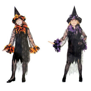 FEATHERED-WITCH-HALLOWEEN-COSTUME-SET-Party-Supplies-Girl-Child-Dress-Up-Cute