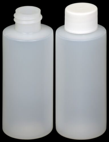 HDPE Plastic Bottle w//White Lid 50-Pack New 2-oz