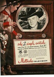 1950 MOTOROLA Television TV Little Boy Cowboy Hopalong Cassidy Vintage Ad
